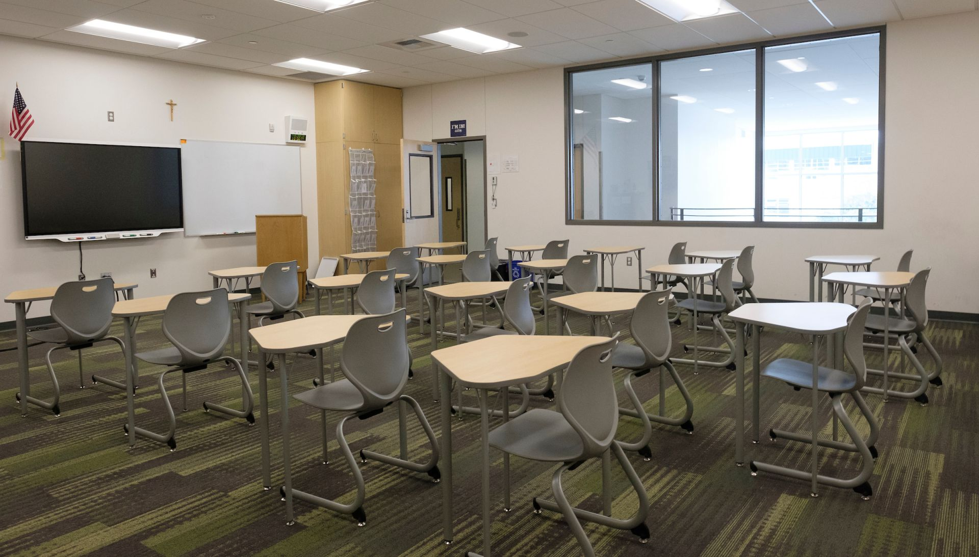 The new classroom in the Ernie Rose Activities Center is equipped with a SMART TV and flexible furniture to allow physical education classes the opportunity to easily move between working out and studying.