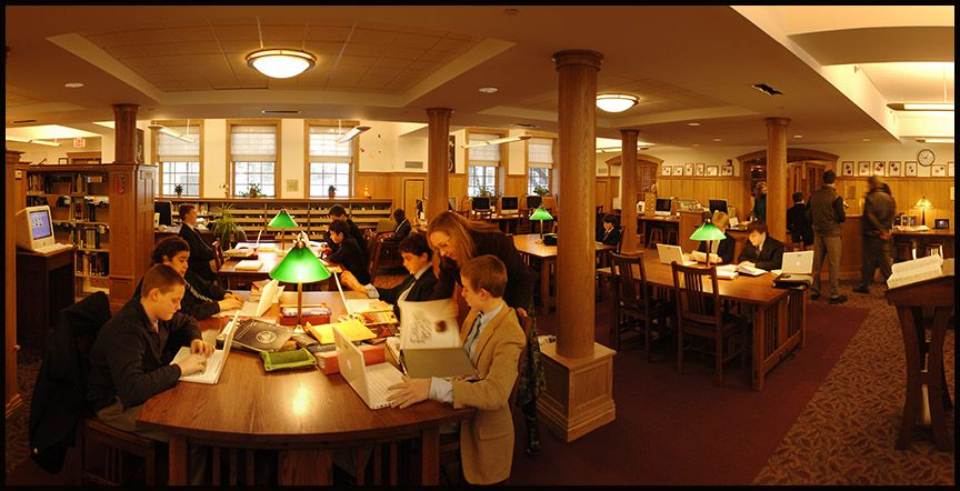 The Wheeler Library: The beautiful and recently renovated Wheeler Library holds 19,880 volumes (including books, audiobooks, videos, and DVDs.)