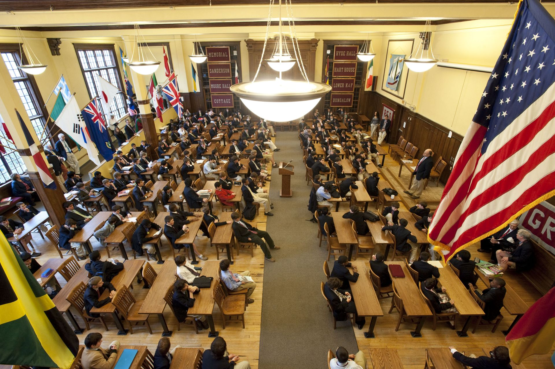 The Schoolroom: Located in Memorial Hall since 1920, the Schoolroom is the site of Upper School morning meeting at the start of each school day.
