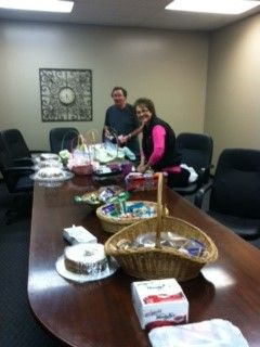 Grandparents Theresa Williams and Dick Comried prepare the treats at Liberty the evening before