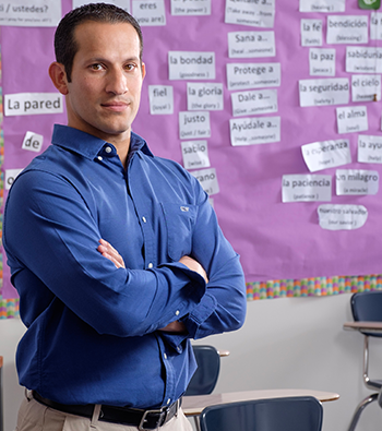"Carlos Ruiz Upper School Spanish Teacher and Football Coach, ""I have a strong passion to mentor students to become the best version of themselves. I get to do these things here at Liberty Christian, and it's exciting."""