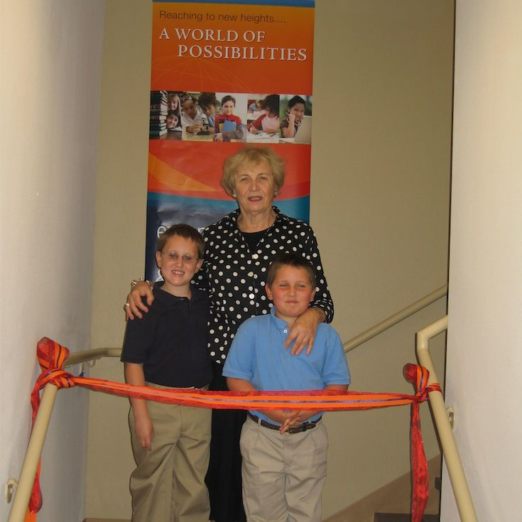 The ribbon cutting ceremony at the opening of the second story in 2008