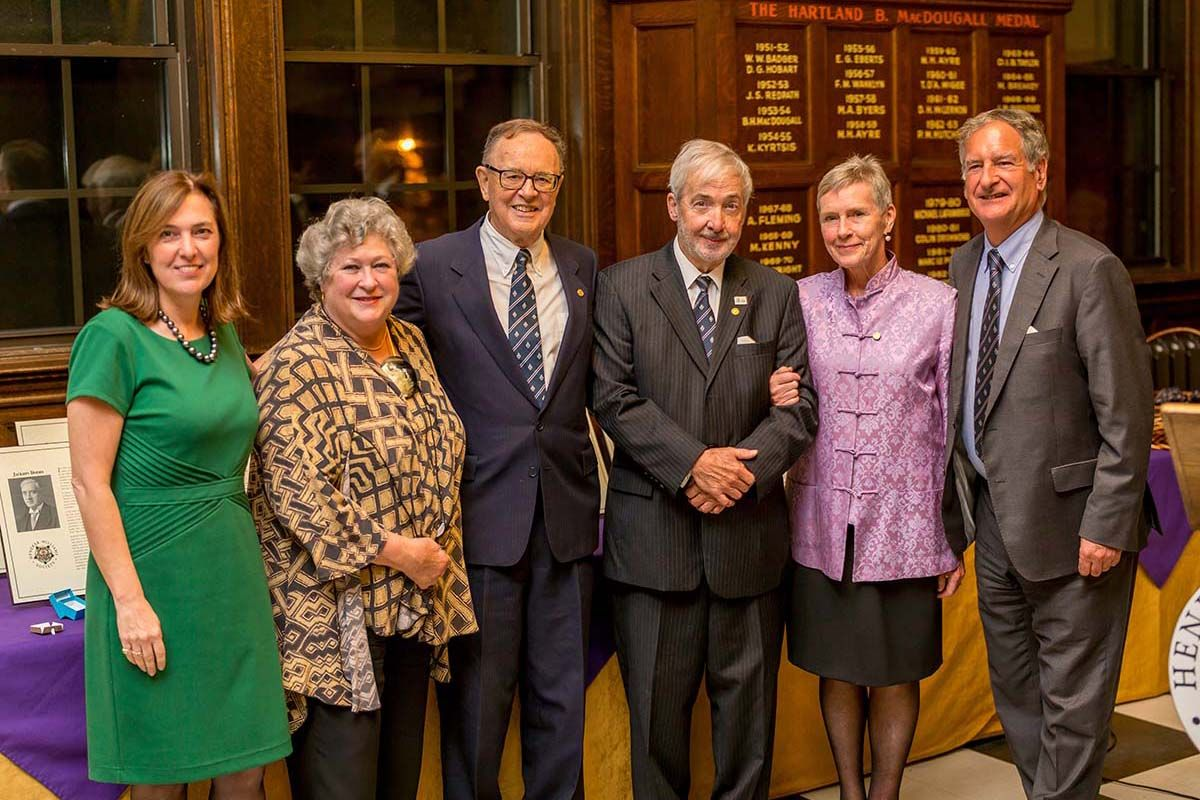Linda Rodeck, Patterson Webster, Peter White, François de Sainte Marie, Rae Heenan, and Tim Price at the 2018 induction ceremony.