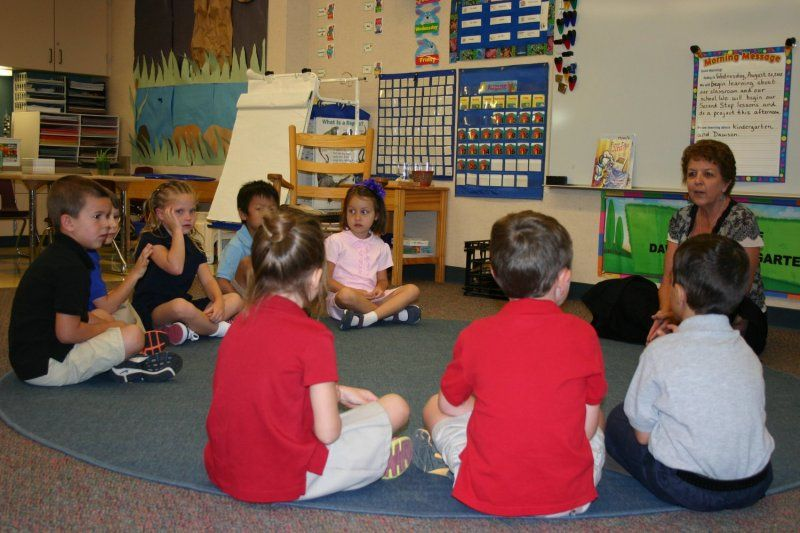 Following the Responsive Classroom model, the Morning Meetings find students greeting each other in the classroom, sharing stories, singing morning songs, and starting the day on a even keel with their classmates.