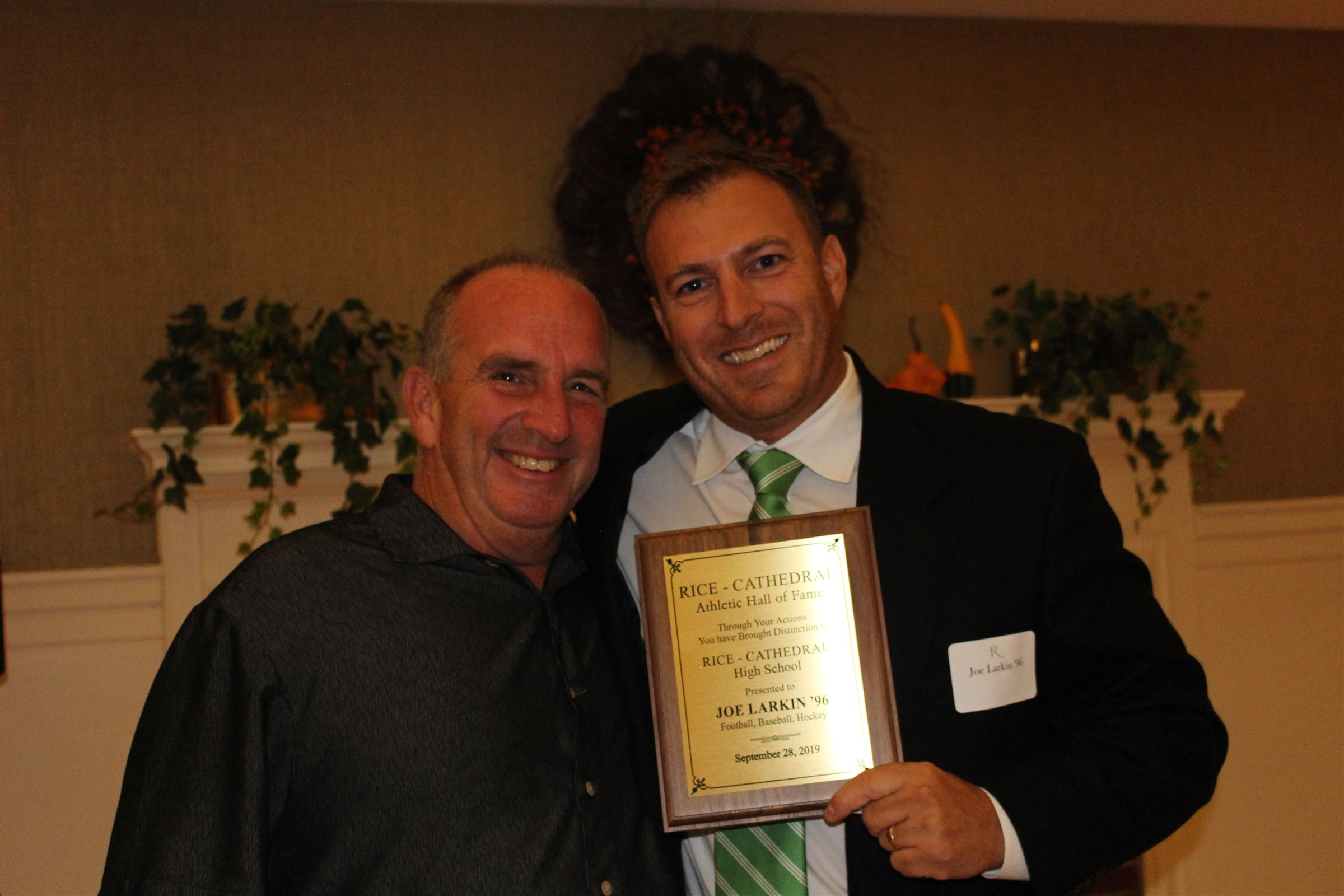Inductee Joe Larkin '96 with former coach Gary Provost '81