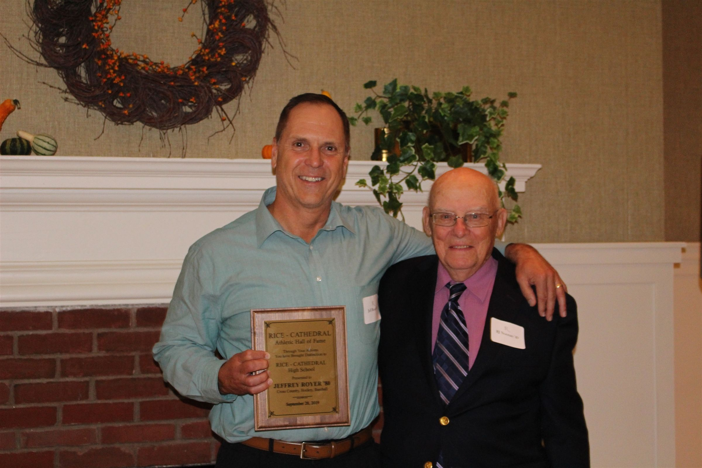 Inductee Jeff Royer '80 with former coach RJ Noonan '49