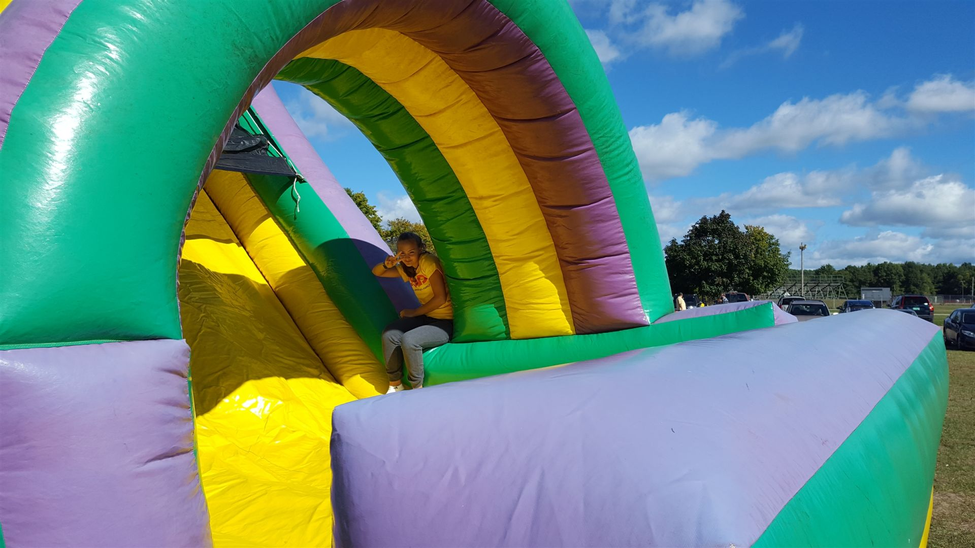 Manning the bouncy slide