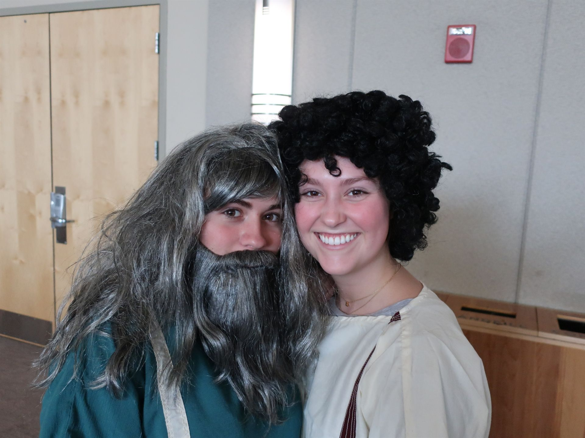 Ali Rouleau '19 and Libby Kowalski '19 as lead characters in Rice's winning Latin Day skit.