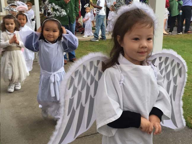 Students participate in our annual Angel Parade, a Pinecrest tradition