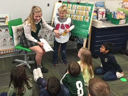 Our Education Practicum allows high school students to assist in the kinder classroom.