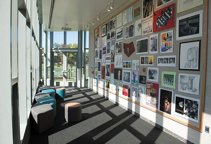 Shipley's award-winning arts program occupies the second floor of the Commons, including two art galleries, which display student artwork and are used for critique sessions.