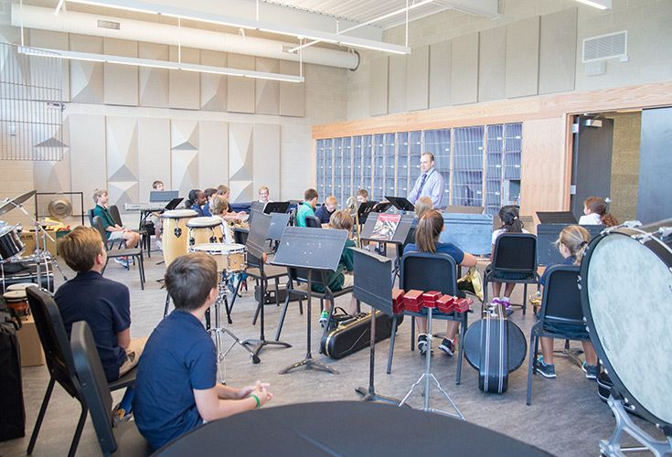 Music facilities include a 930 square-foot ensemble room, 770 square-foot choral room, recording booth, chamber room, and practice rooms.