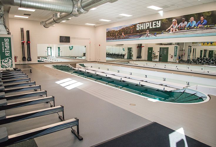 The 2,500 square-foot crew training center features an eight-person rowing tank, as well as strength and fitness equipment. Multiple rowers can work on different technical drills simultaneously, providing flexible, student-centered practice and skills development. The tank also furnishes a safe environment for Middle School rowers and other novices to learn the basics of rowing.