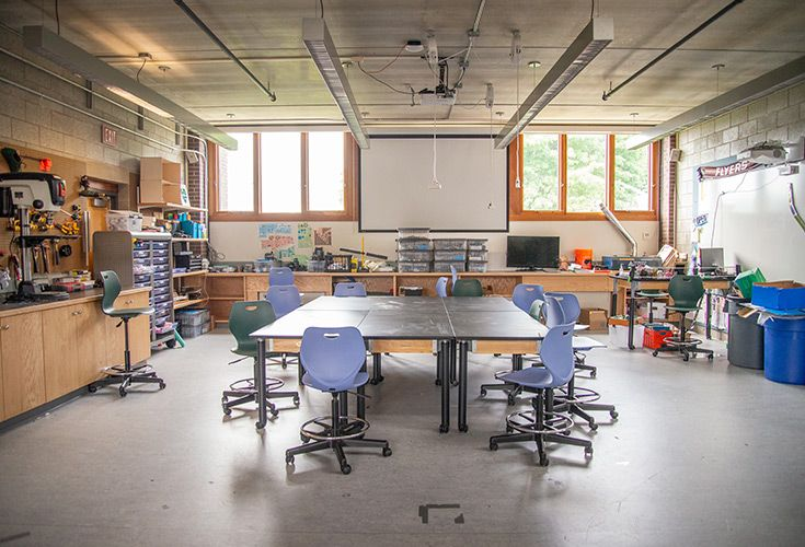 The Middle School MakerSpace is a new addition during the 2018-2019 school year. It provides areas for collaboration and is home to woodworking materials, a laser engraver, a CNC Router, 3D printers, among other tools.