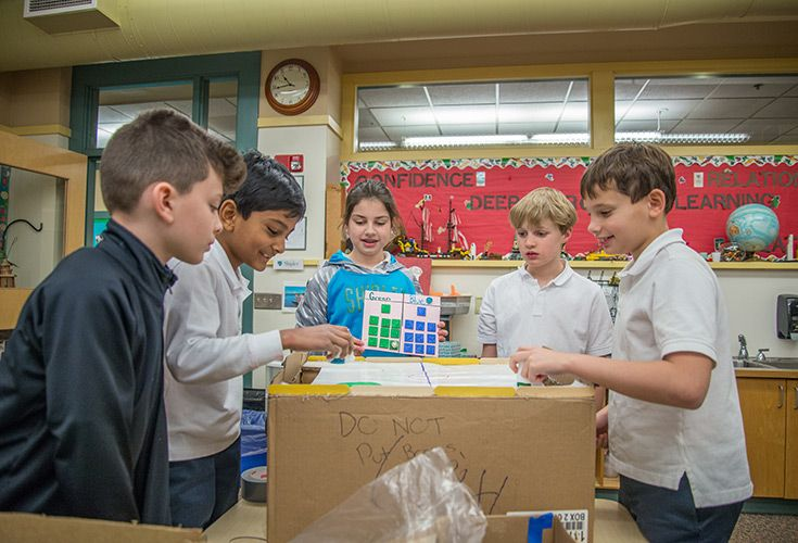 Students in the Lower School start experimenting in our MakerSpace at a young age.
