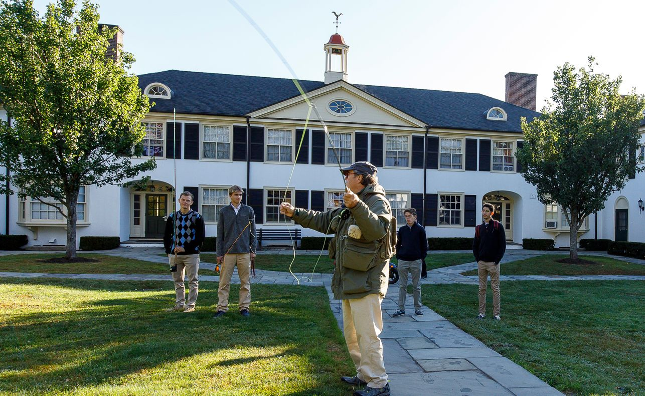 Frederick Gunn believed in the value of pursuing education outside the classroom. Under the leadership of a new director, Rebecca Leclerc, who joined The Gunnery in 2016,  the Outdoor Program aims to involve every student in experiences such as camping,  swimming and paddling a canoe, instill deeper knowledge and appreciation for the environment and man's impact on it, and integrate connections with the natural world across  the curriculum, from AP Language and environmental courses to student organizations such as the Green Club.