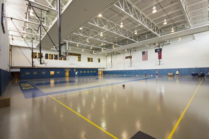 Spencer Gymnasium supports Middle School athletic teams, physical education programs and varsity wrestling. Named in honor of long-time Trustee and benefactor Morris G. Spencer, it also includes a climbing wall and team handball courts.