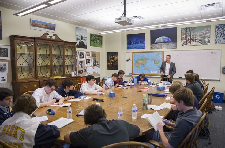 Harkness table classrooms represent the latest in educational advancement. St. Mark's small class sizes allow teachers to forgo traditional desk arrangements in favor of large conference-style tables that facilitate natural discussion and group learning.
