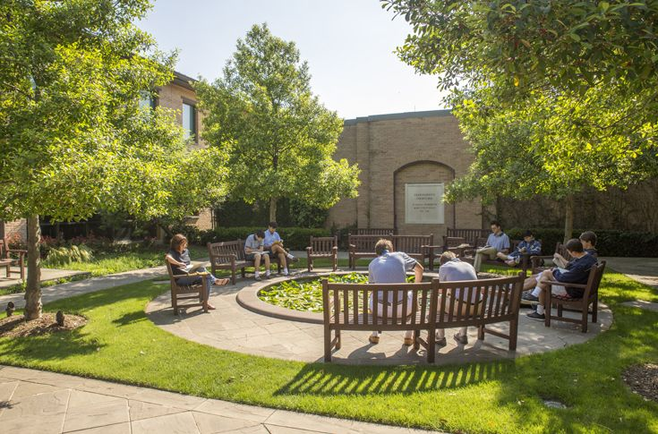 The Grandparents' Courtyard is one of most serene areas on campus, offering a quiet space where students and staff can eat lunch, visit, or enjoy some pizza and ice cream during one of the many