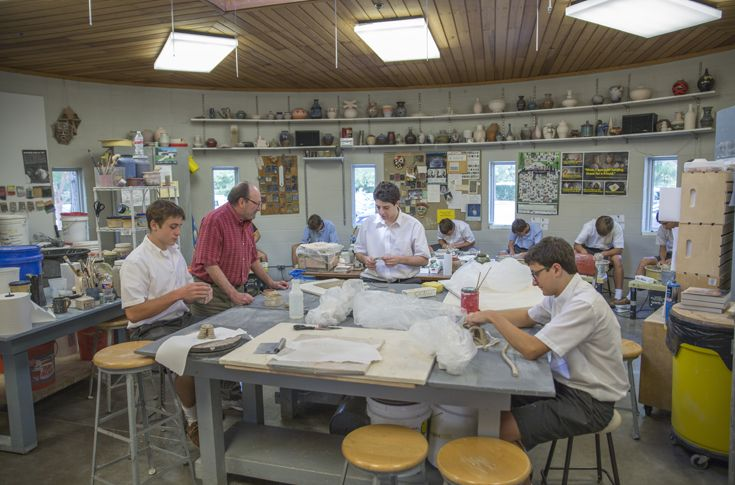 Students find a place to express themselves in the Fine Arts Wing, which features a band and orchestra hall, art studios, and pottery studio with kiln.
