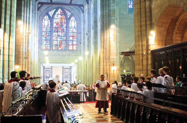 St. Mark's Choir performing in South Africa during the 2011 International Cathedral Tour.