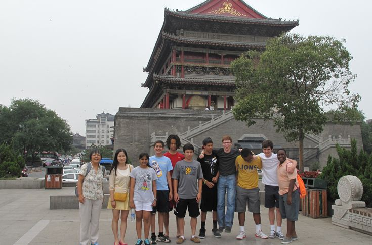 Students tour the Xi'an-Drum Tower in China.