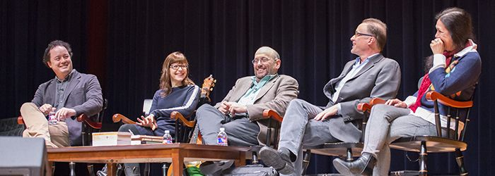 Visiting writers discuss their experiences at Upper School assembly.