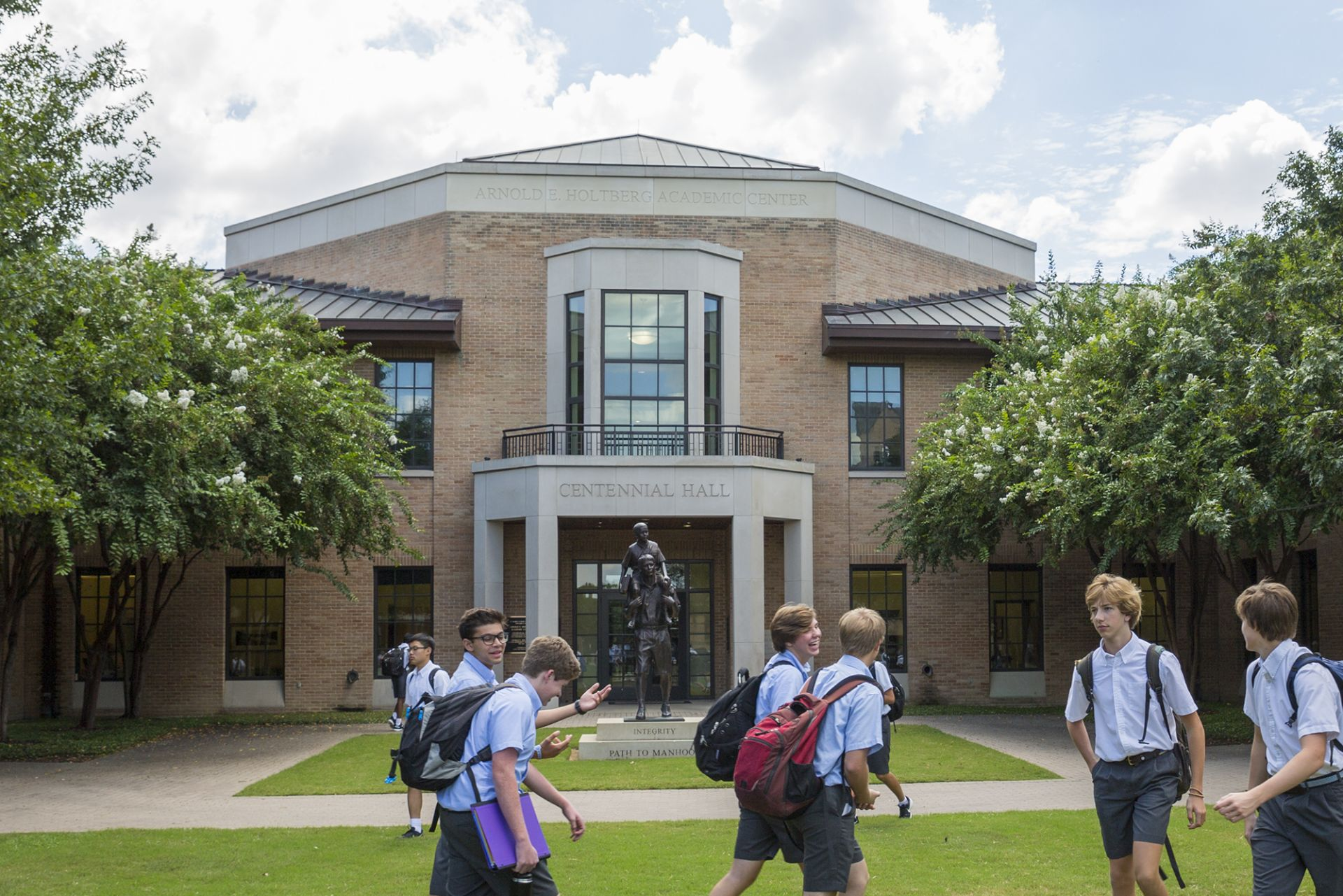 Centennial Hall is the primary academic and administrative building on campus. Housing the Upper and Middle School, the Headmaster's Office, a student lounge, and classrooms, Centennial is the central hub of campus life. In 2018, the building as rededicated at the Arnold E. Holtberg Academic Center in honor of St. Mark's longest-serving headmaster.