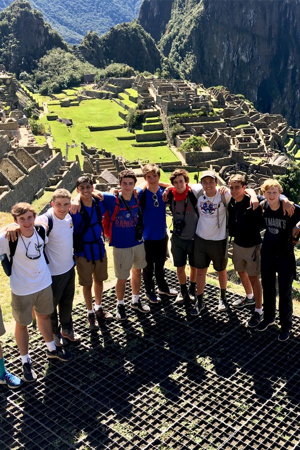 Upper School students climb the steps to Machu Picchu during their trip through Peru.