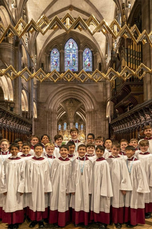 Choristers perform at Hereford Cathedral during their International Tour in England.
