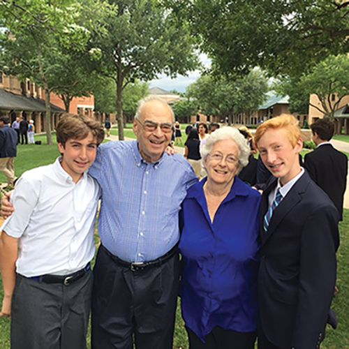 Dr. Larry and Joanie Genender with grandsons George '23 and Jack '21