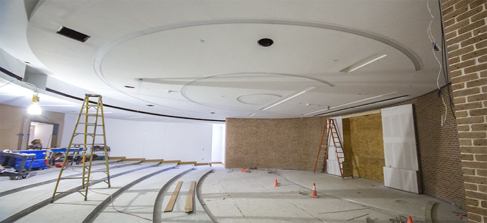 The painting and wiring of the Science Lecture Hall nears completion.