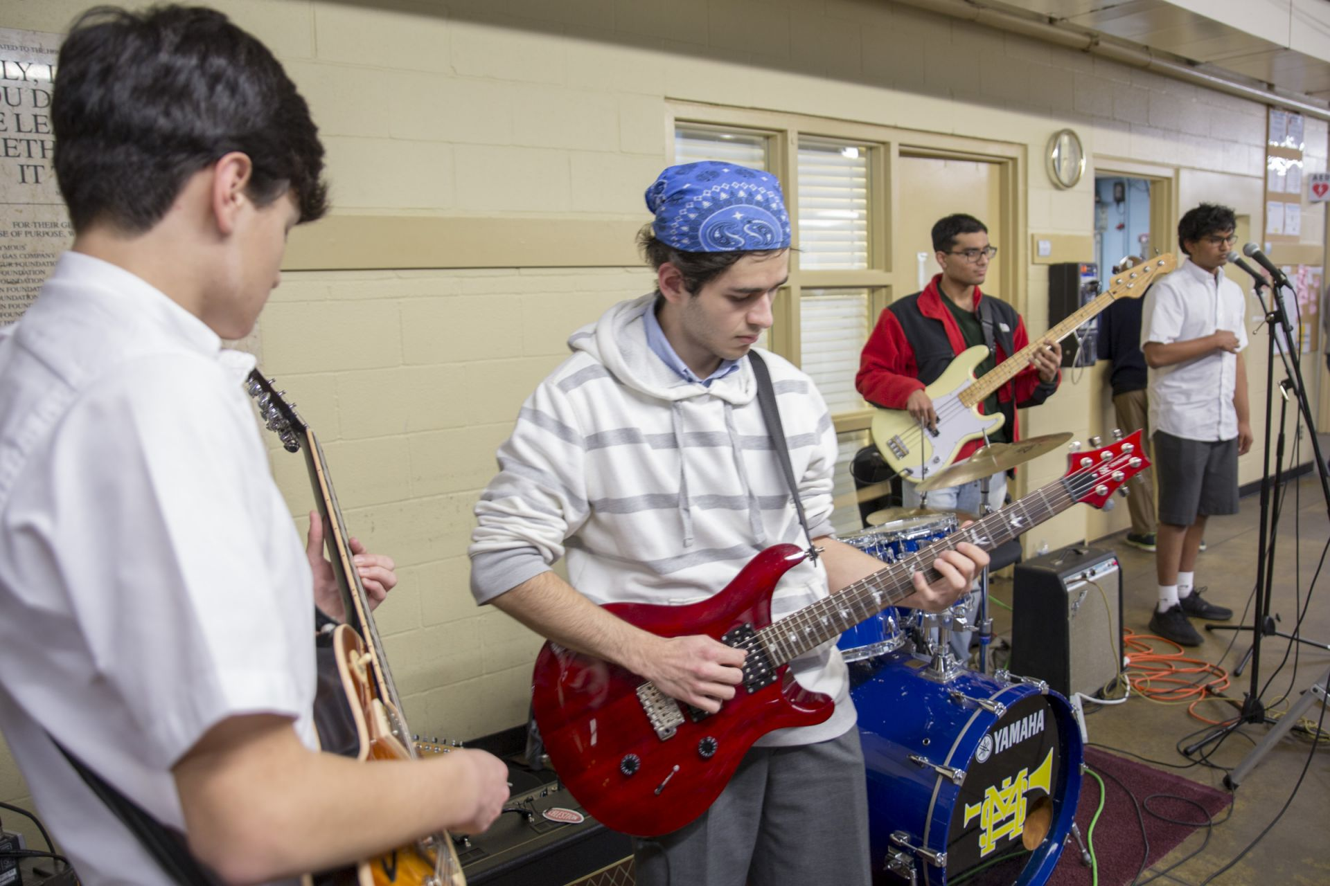Students perform at Austin Street Center.