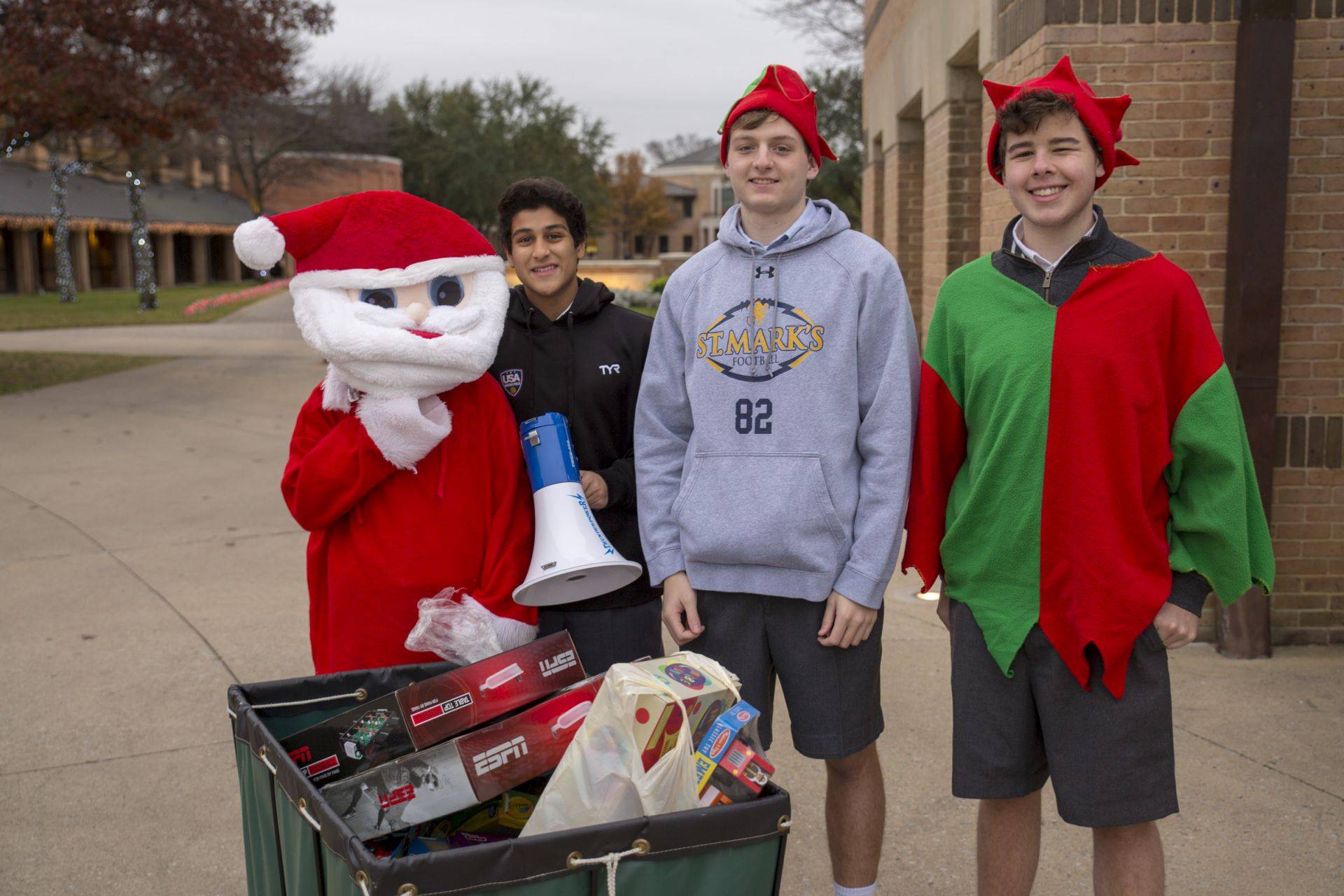 Santa and his elves collect toys for the Gift Drive.