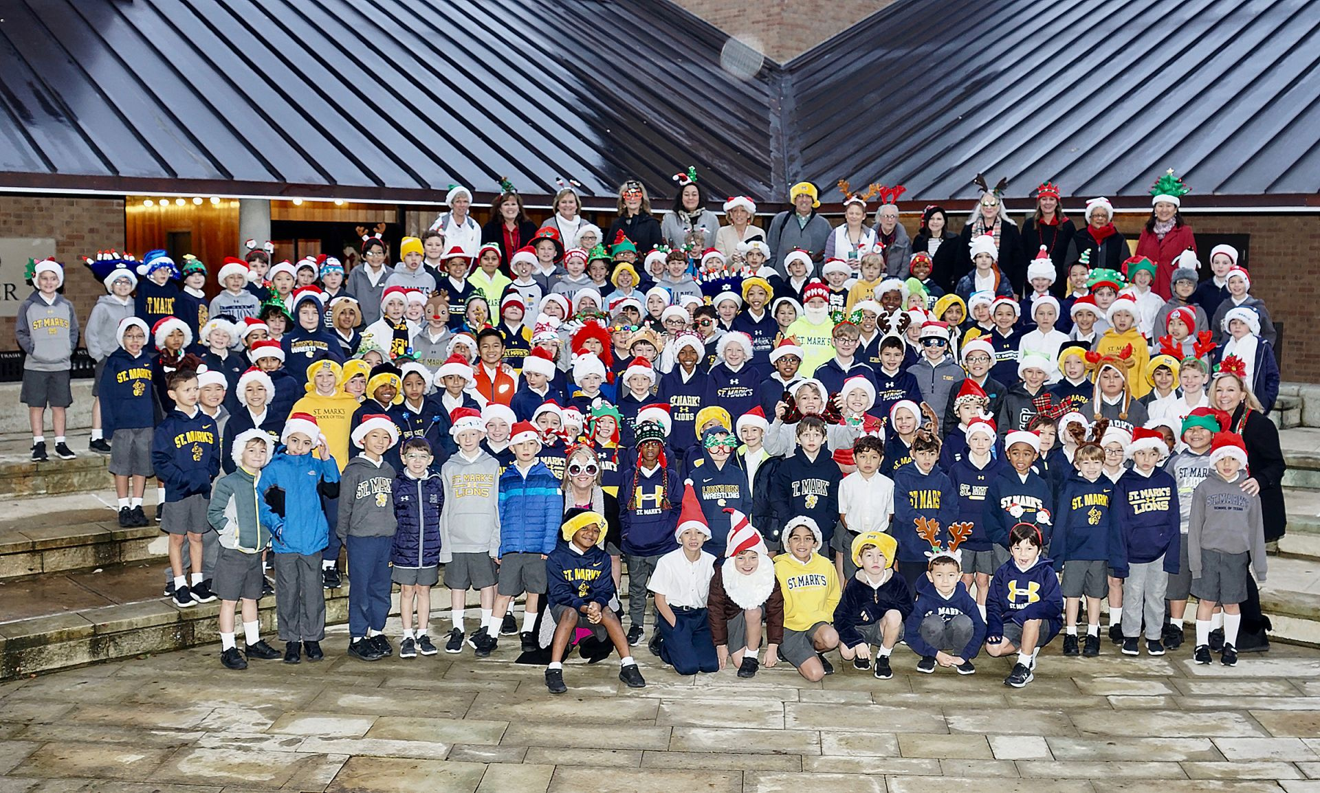 The Lower School Holiday Hat Photo