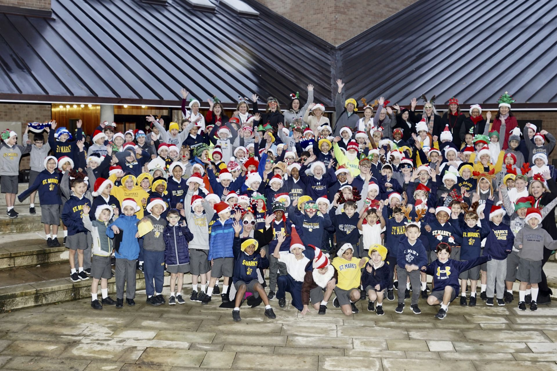 The Lower School Holiday Hat Photo (silly version)
