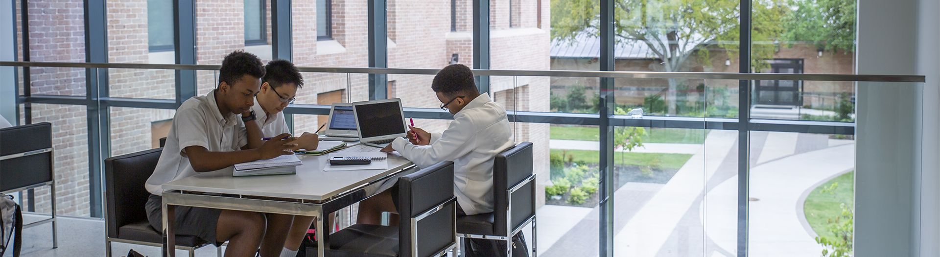 Students study in the Levering Family Study Lounge Bridge between the Winn Science Center and McDermott-Green Science Building.