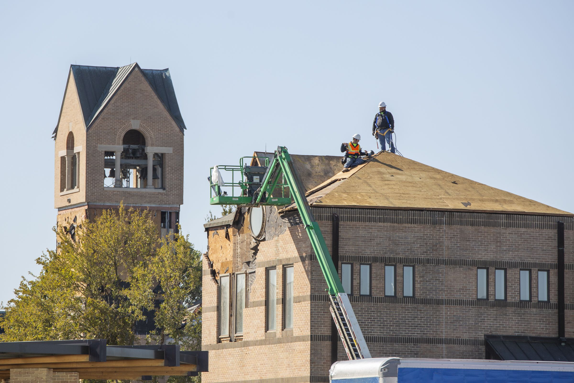 Crews begin repairing the roof of the Livengood Choir Room.