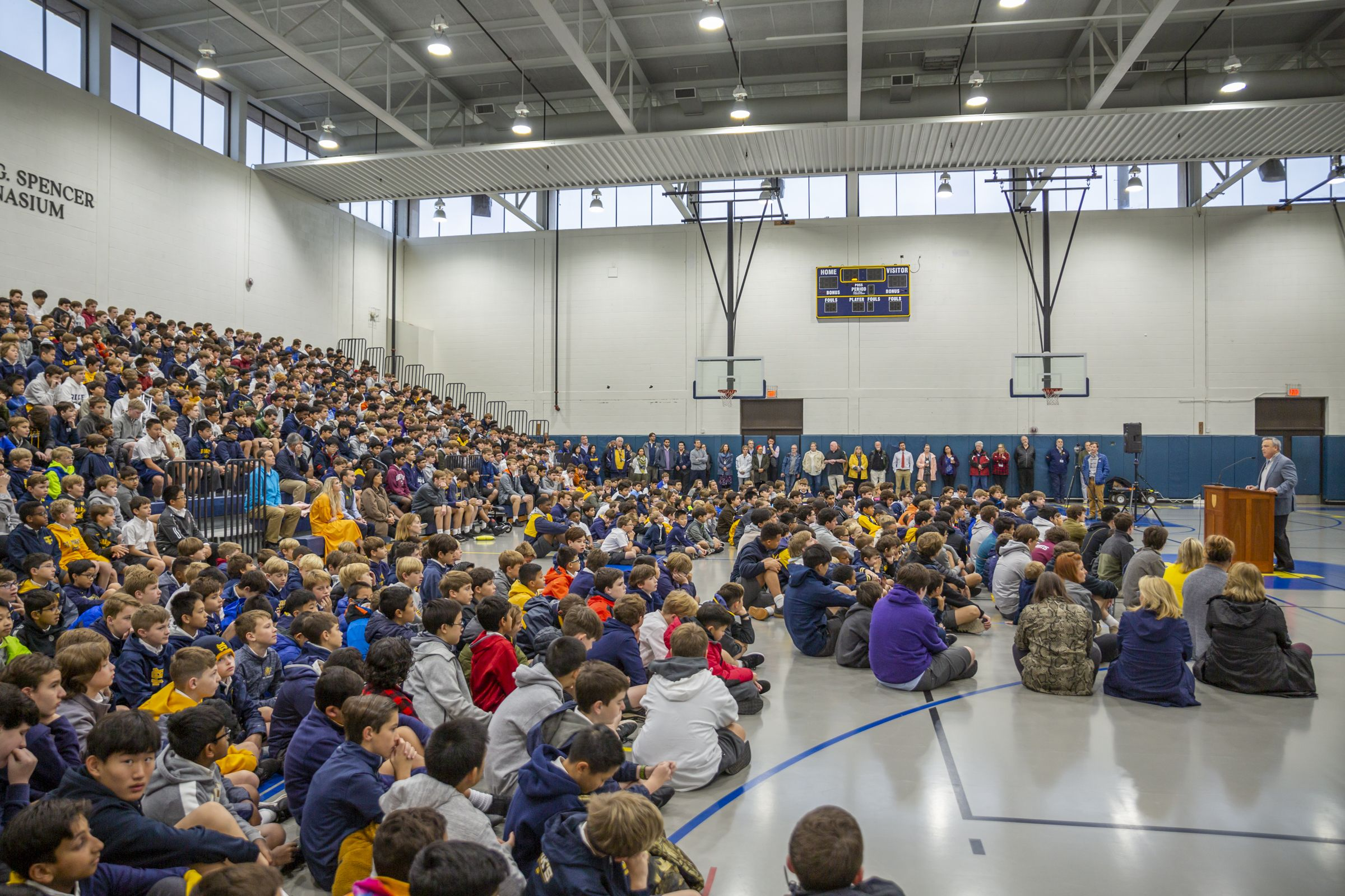 On the first day of classes following the tornado, the entire community gathered in Spencer Gym for a special assembly.
