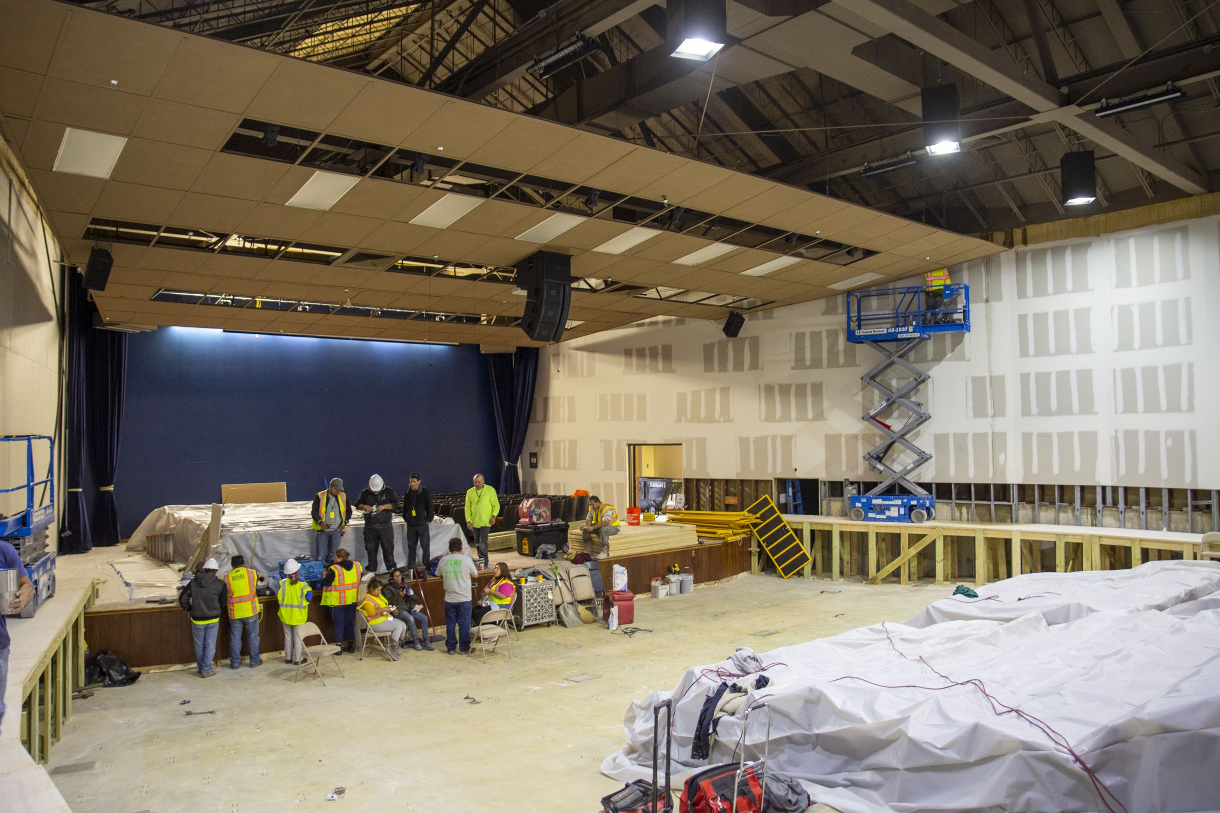 Crews work to repair Decherd Auditorium.