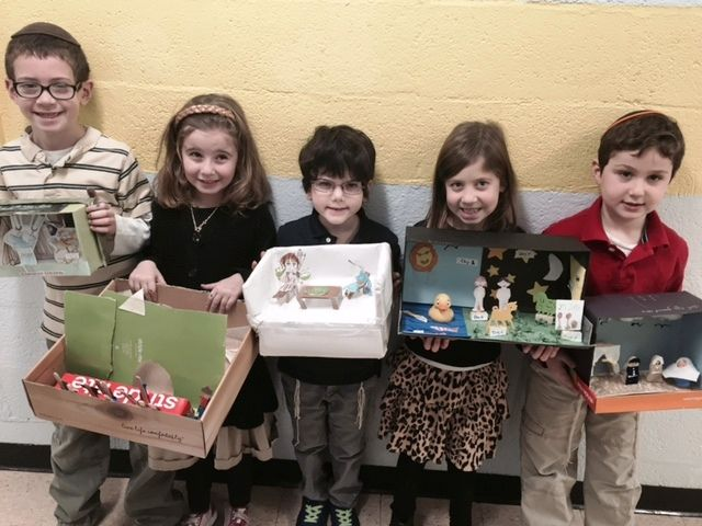First Grade dioramas about stories in Sefer Bereisheit.