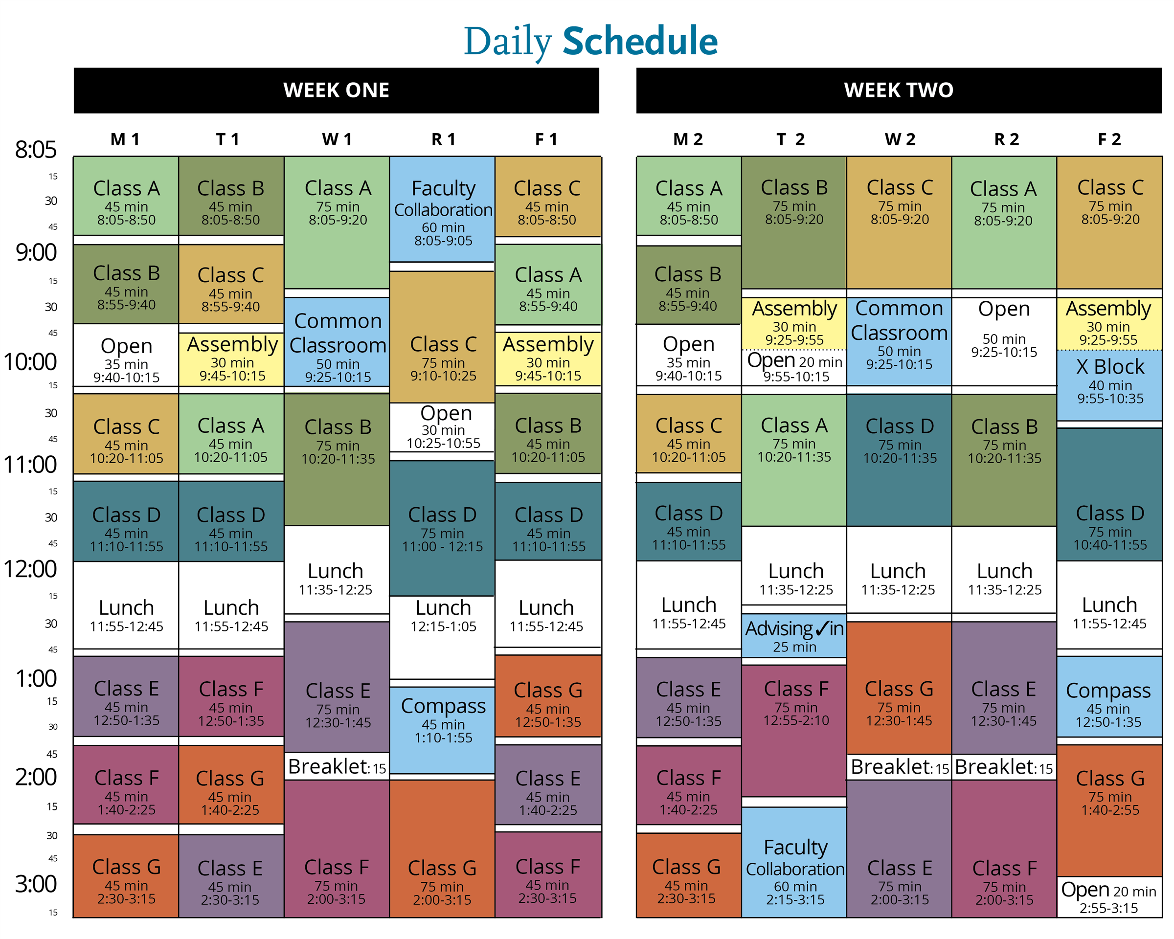 schedule for college students