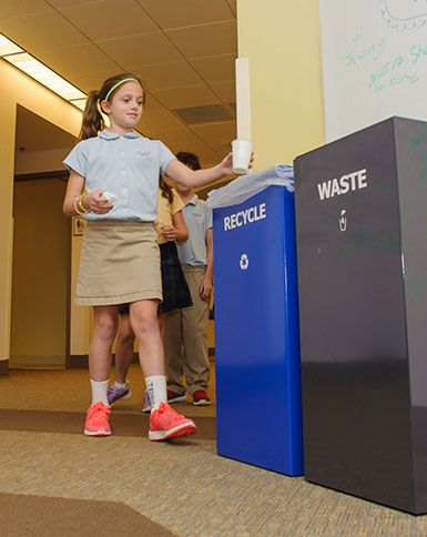 Trinity School's recycling program helps reduce the school's solid waste stream, educates our community on waste reduction practices, and builds environmental stewardship behaviors. Each classroom and office is equipped with a blue recycle bin, and there are six recycle stations located throughout the campus.
