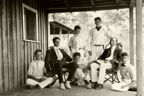 Paul C. Ransom and students at Pine Knot Camp on Biscayne Bay, ca. 1902.
