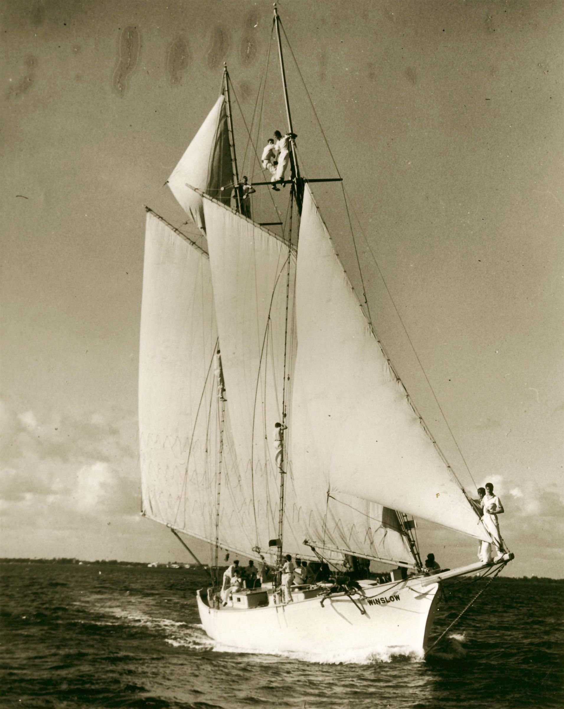Winslow at sea with boys 1930's