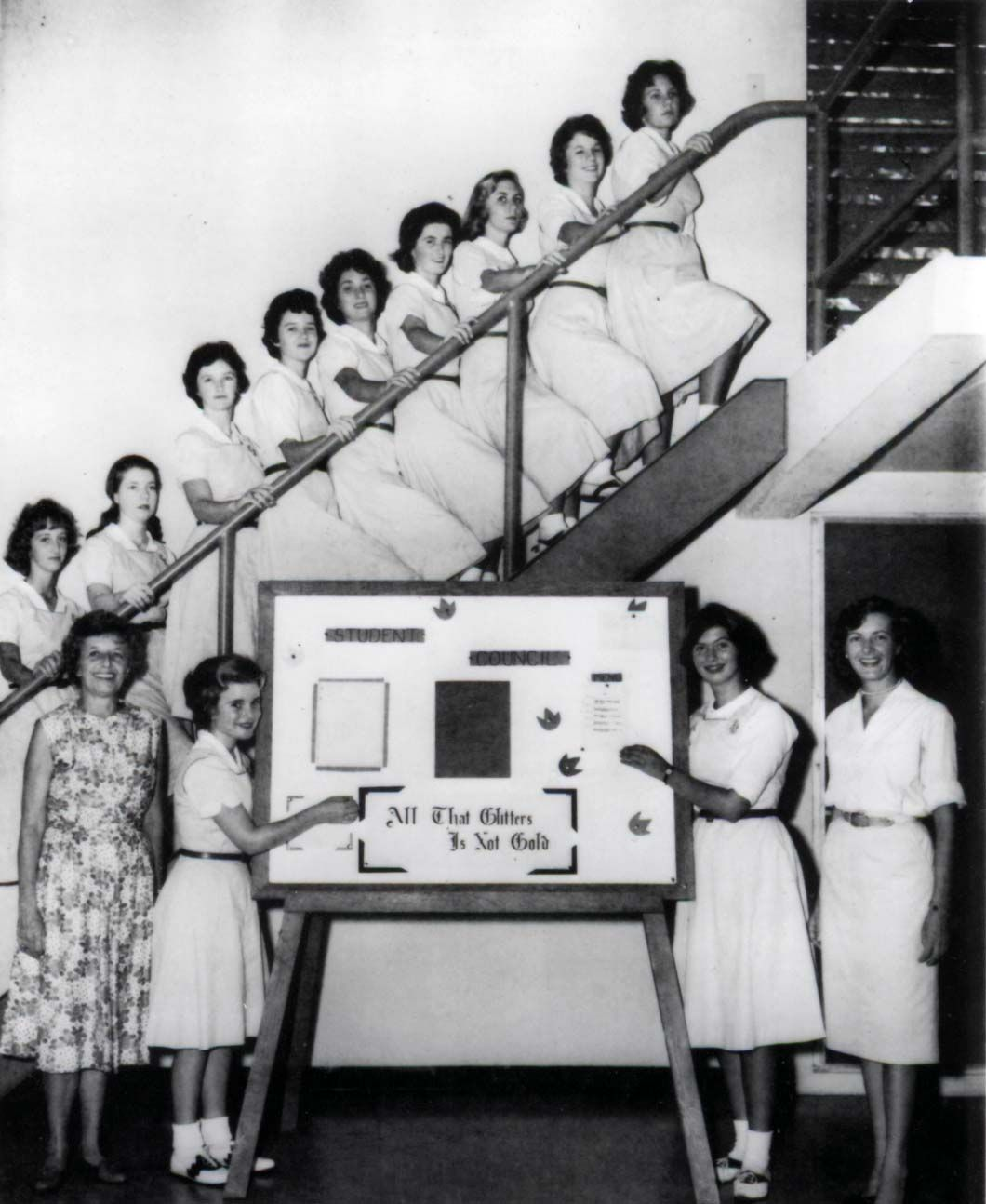 "The Everglades School for Girls Student Council with a list of the Student Government Advisory Board, which ""carries out responsibilities."" - photo from the 1961 yearbook"