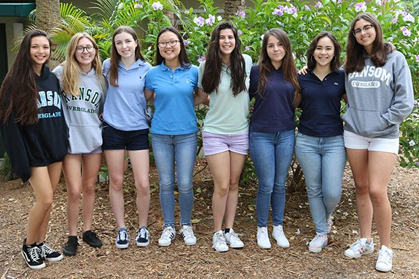 2018 Bowden fellows: collaborators Mia Tellechea-Choi '19 and Andrea Pearl '19, Maddie MacEachern '19, Nathalie Han '19, Isa Pena '19, Sofia Andrade '19, Laura Liu '19 and Nicole Verde '19
