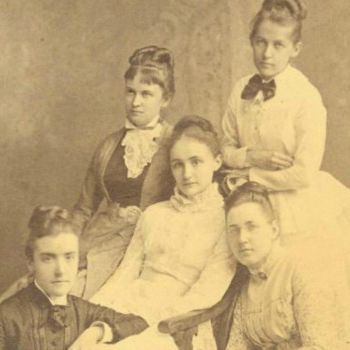Front Row: M. Carey Thomas and Mary Elizabeth Garrett; Center: Mamie Gwinn; Back: Julia Rogers and Elizabeth (Bessie) King <br /><br />Photo courtesy of the Bryn Mawr College Archives
