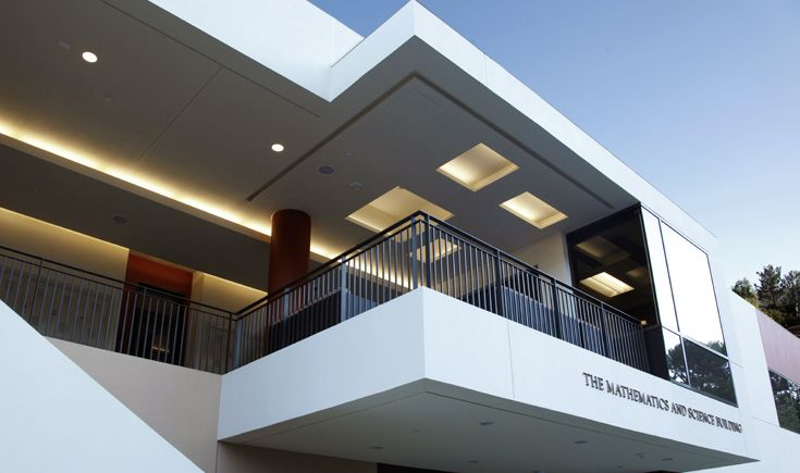 The balcony of the Mathematics and Science Building houses the