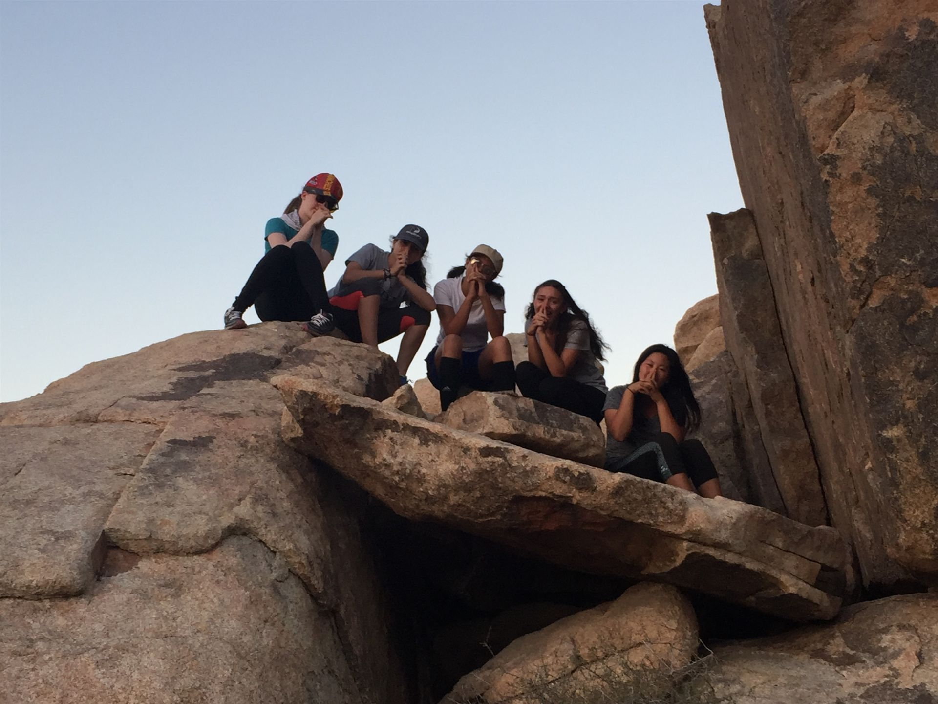 Freshmen on their Outdoor Education trip to Joshua Tree.
